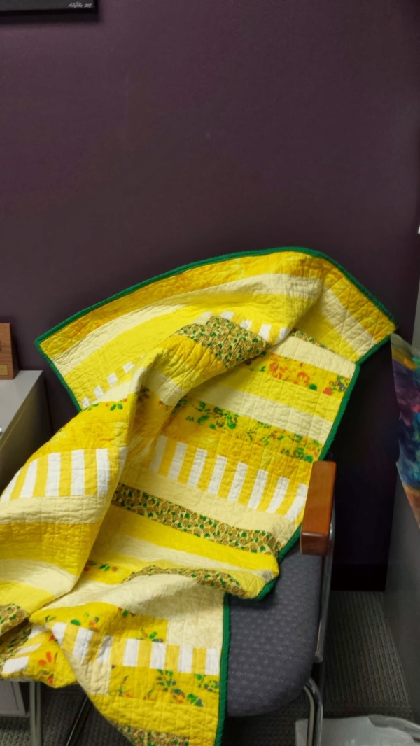 Yellow Stripes Quilt, at the office, ready to give