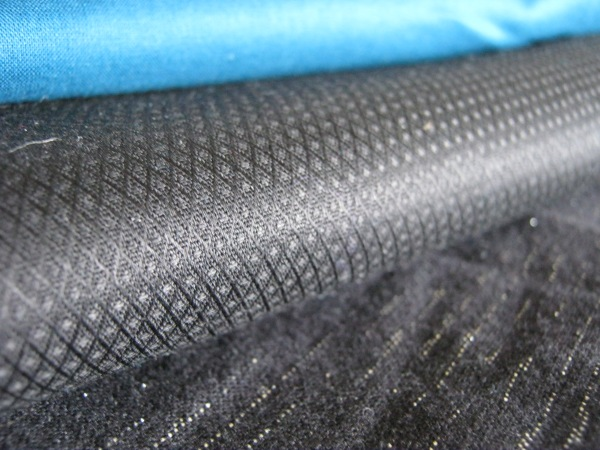 Teal voile (so soft!) on top, black cotton with an awesome diamond weave in the middle, and some heavy weight cotton with metallic thread on bottom