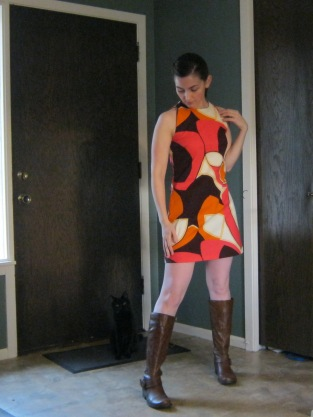 """This is how I'd """"style"""" this dress if I was going as a 60s-ish go-go dancer for Halloween... but being mostly anti-social I had no reason to dress up this year so I didn't really make a costume"""
